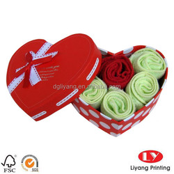Custom made heart shape gift box for towels made in china