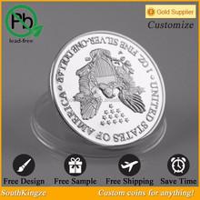 Silver metal material matte finishing walking liberty 2 pound coin