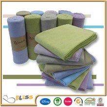 Solid plain dyed overlocked brushed baby fleece blanket/all season throw/gift throw