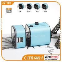 JY-302 CE RoHS FCC electrical gift items universal travel adapter,travel adaptor with dual usb