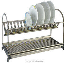 Household storage two tiers stainless steel dish rack