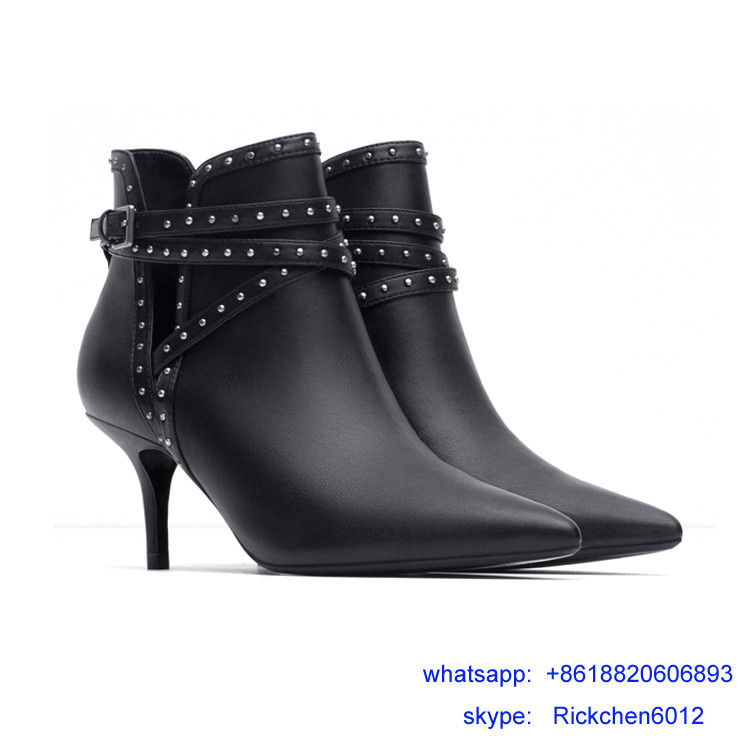 hot sale black leahter rivet thin heel women boots