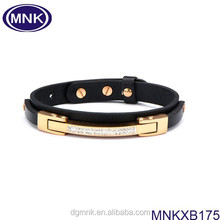 AAA quality 316L stainless steel and leather bracelet jewelry, new products 2015 for men.
