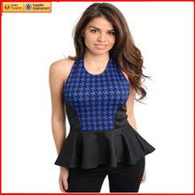 ladies tops último diseño azul blusa sin espalda negro