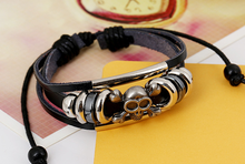 black skull mental beads thin hot sale factory price diy genuin leather bracelets