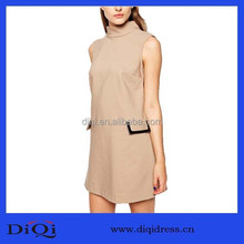 Hot Sale Newest Style High end Quality Elegant Women Dresses Retro high-necked sleeveless shift dress
