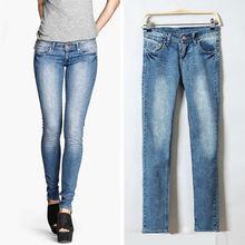 llegada mujeres de primavera y otoño europeo de la moda los estilo, tramo de mezclilla pantalones, slim jeans skinny 6830