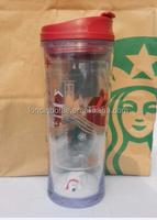 Starbucks original installation tumbler Mug coffee cup , paper insert tumbler ,16oz CHRISTMAS SNOWMAN TUMBLER