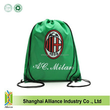 Wholesale AC Milan Football Club 300D Polyester Sports Drawstring Backpack With Customized Logo