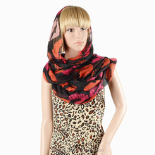 lip printed sex voile scarf for lady