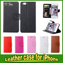 Book Style Genuine Leather Wallet Case Cover For iPhone 6 Plus
