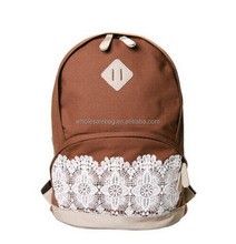 New Unique Design Canvas With Lace Flower Decorated School Backpack Rucksack Knapsack For Teen Girls