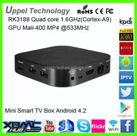 2G/8G RK3188 Quad Core 1.6GHz 4.0 Bluetooth Smart Android TV Box With CE FCC ROHS Certification