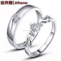 925 silver angel wing sterling silver jewelry couple rings Korean version of solid sterling silver couple rings