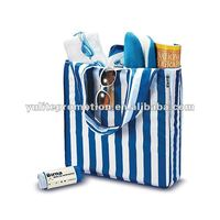 Color line printing promotional foldable cotton shopping bag easy shopping bag folded shopping bag