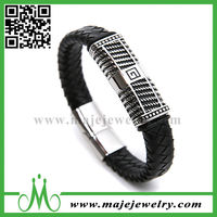 Cheap fashion leather and stainless steel bracelet for man