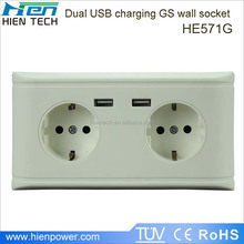 2 gang power strip for Europe area using built-in USB ports