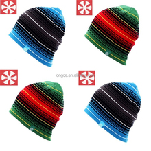 GS0004 Colorful Striped Slouch Beanies Knitted Crochet Baggy Skullies Skiing Hat for Women and Men
