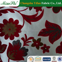 Indian red sliver gilded floral design compounded sofa fabric with loop pile