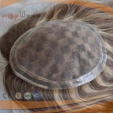 poly border under vent human hair light brown color hair piece