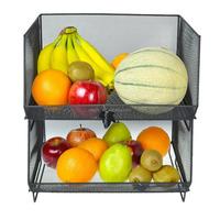 Black Metal Wire Mesh Fruit Basket Rack Kitchen Stacking Storage Bin
