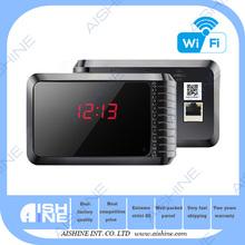 multi function hd 720p wifi desk clock hidden alarm camera/security camera kit