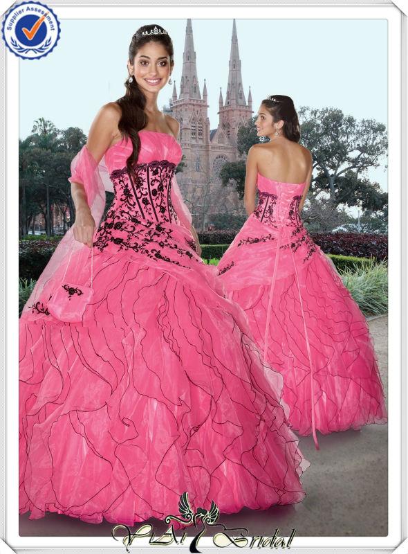 Black Pink Wedding Dresses