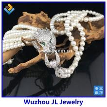 2015 Hot mothers day giftpearl tassel silver leopard stassel leopard cheap long tassel necklace