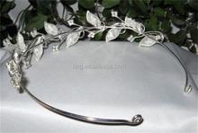 New Design Bridal Clear Rhinestone Crystal Silver Leaf Tiaras Headbands