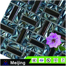 Blue and silver glass mosaic tiles glowing in the dark