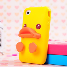 Fashion Cute cartoon 3D baby yellow duck Soft Silicone stand Back Case Cover For iphone 4 4s/5 5g 5s 6 6s plus and for samsung