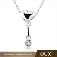 OUXI Fashion heart shaped jewelry AAA zircon pearl necklace 11261-1