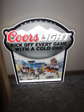 COORS LIGHT BEER FOOTBALL PLAYERS LED EDGE LIT LIGHT UP SIGN