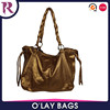Zhejiang cheapest fashion golden color pu leather ladies bag