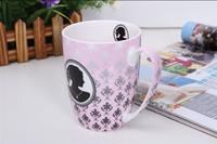Fancy pink bone china mug cup inside printed mug