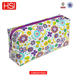 pvc printed flower cheap makeup bags and cases
