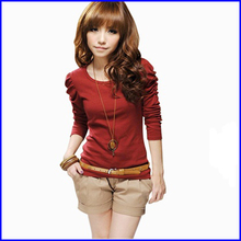 2014 new spring han edition women long-sleeved t-shirt pure color blank t- shirt