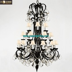 Wholesale Luxury Antique Hotel Lobby Crystal Chandelier Centerpieces Large Big Pendant Hanging Lamp Light Lighting CZ2573/24