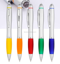 cheap high grade silver LED flashlight ball pen