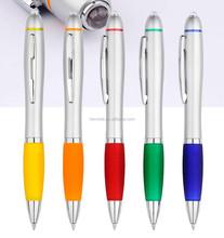 cheap high grade silver LED light ball pen /siver ball pen with LED light