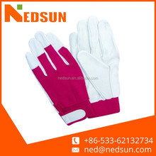 Hand protection pig split working ladies leather gloves