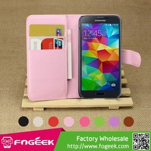 High Fashion Lychee Leather Wallet Stand Case w/ Card Slots for Samsung Galaxy S5 mini SM-G800