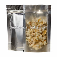 one side clear stand up pouch with zipper aluminum plastic bag packing