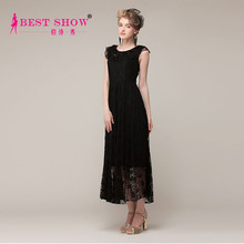 2015 New Arrival High Fashion New Design Womens Comfortable Casual Dresses Long Black Lace Dress For Women Wholesale 7012