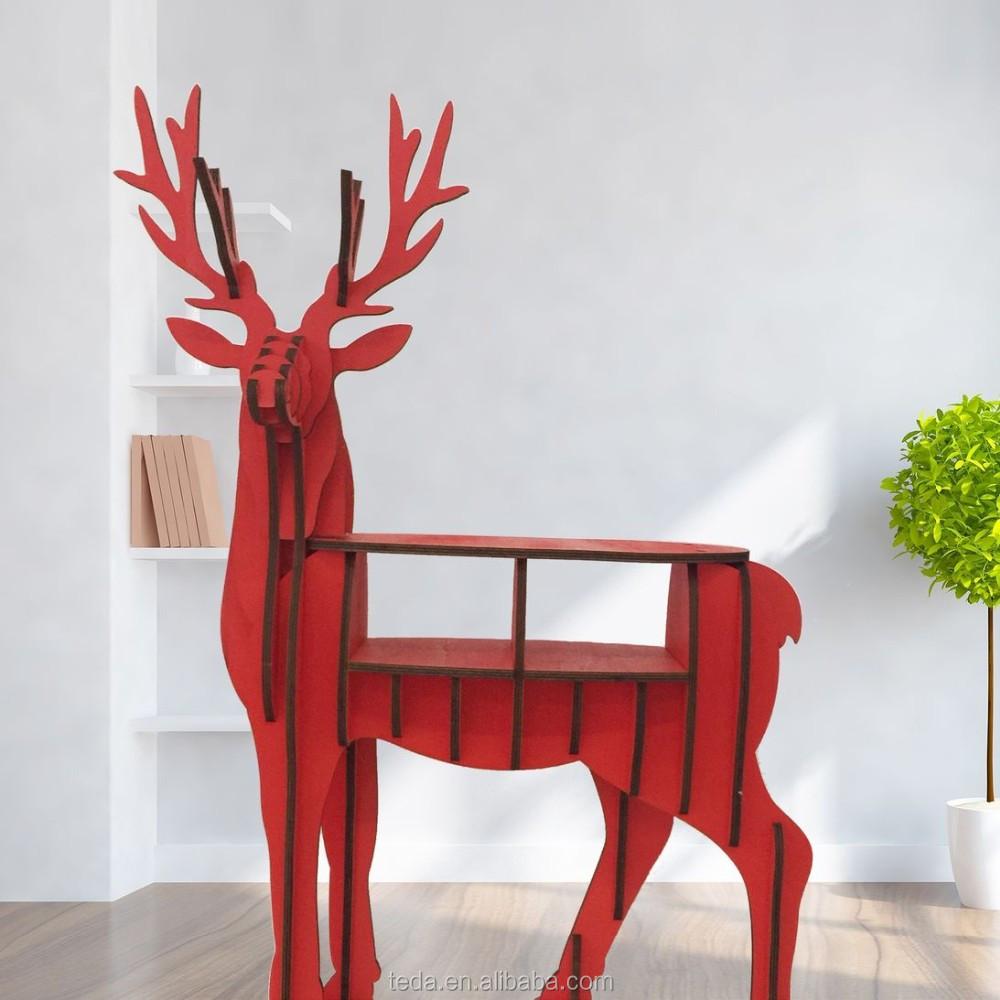 wholesale DIY wood carving craft decoration reindeer of Mini Wood ReinDeer Bookself (9)