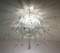 silver art glass chandelier, art glass lighting