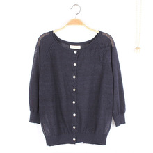 female small pockets outside linen sweater wholesale woman clothing