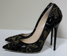 studded ladies high heels studs women fashion dress cheap Flocked Leather Studs Point Toe Heel Pump Shoes