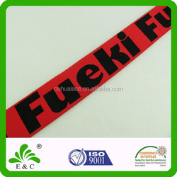 Customized Color and Design Black Red Jacquard Elastic Band