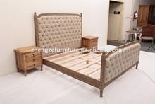 antiguos de la reproducción de recogida de madera muebles para el hogar francés cama tapizado
